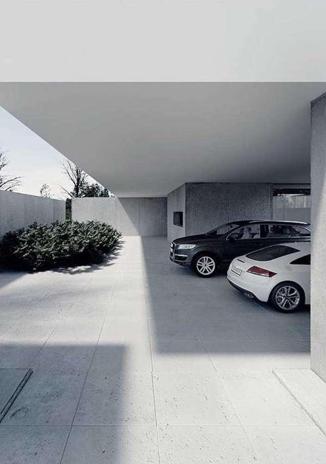 1. Cerâmica para garagem cinza com jardim de plantas – Foto Ideias Decor