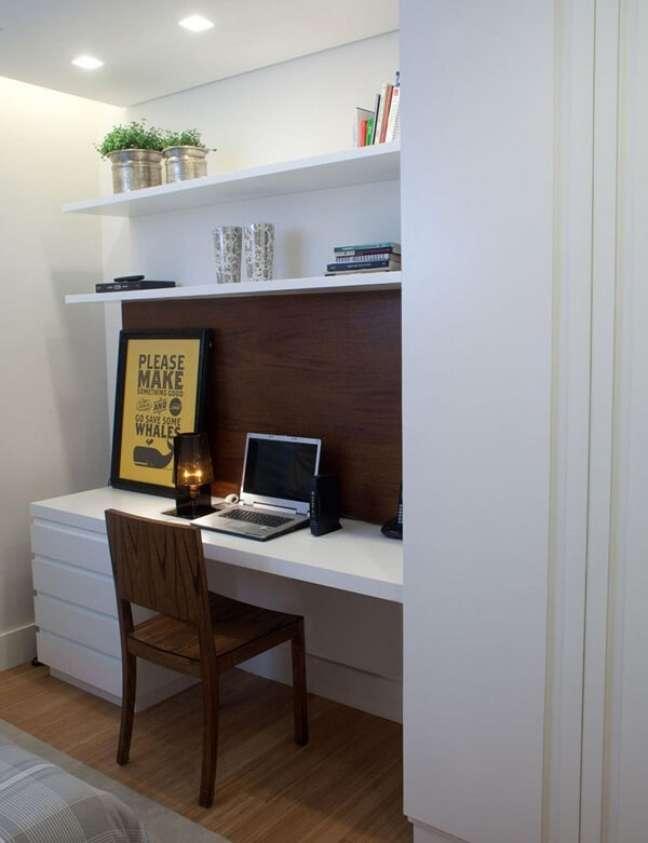 31. Modelo de gaveteiro madeira branco para home office. Projeto de Ana Yoshida