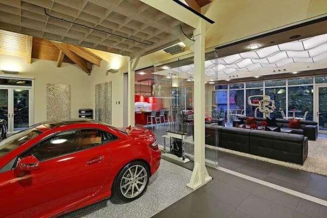 53. Cerâmica pra garagem moderna em cinza e branco – Foto Pinterest