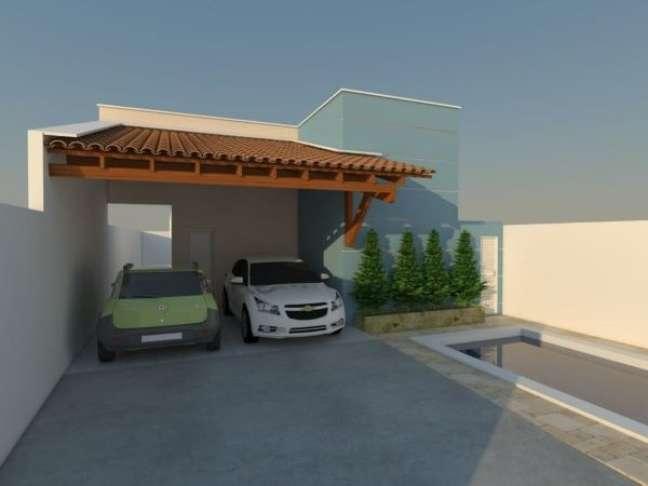 34. Cerâmica para garagem com cobertura de madeira a telhas – Foto Pinterest