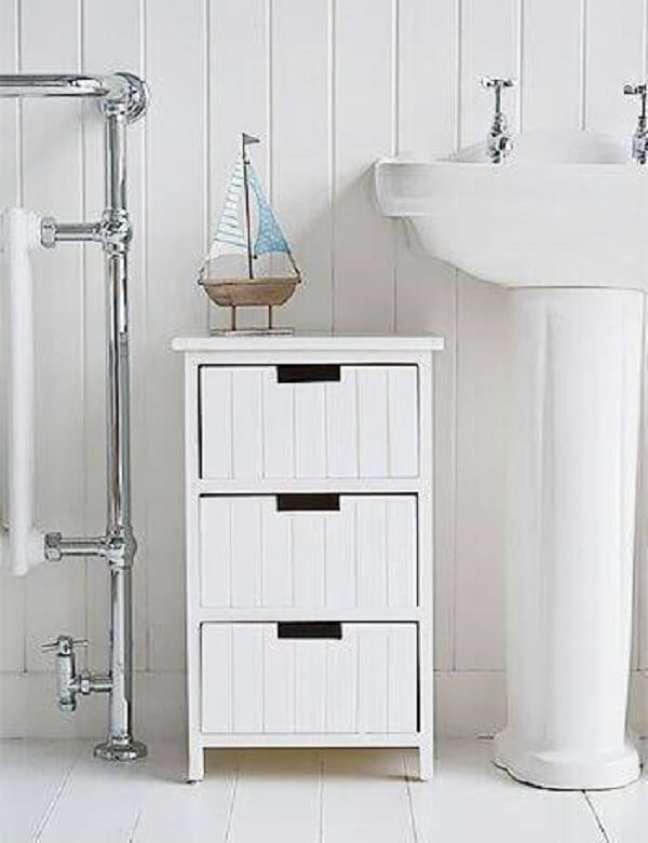 4. Gaveteiro organizador branco para banheiro. Fonte: Revista VD