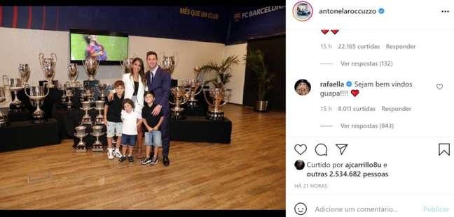 Rafaella, irmã de Neymar, comenta publicação da esposa de Messi (Foto: Divulgação)