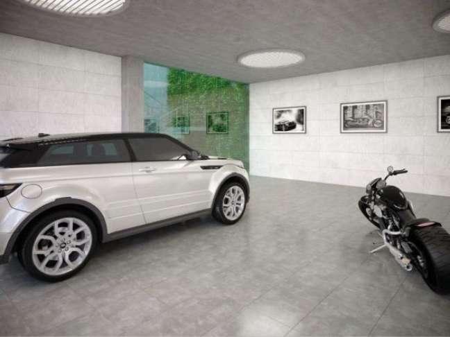 42. Cerâmica para garagem em tom de cimento queimado – Foto Pinterest