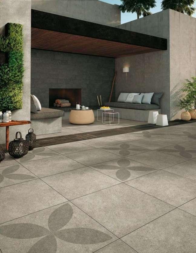 4. Cerâmica para garagem cinza com área externa – Foto Pinterest