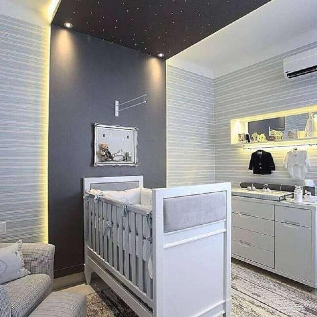66. Tons de cinza para quarto para bebê planejado – Foto: Home Fashion Trend