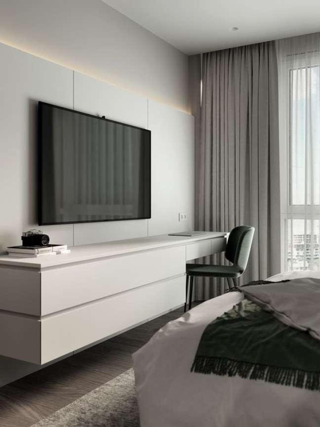 8. Painel com rack TV para quarto moderno e minimalista – Foto Behance