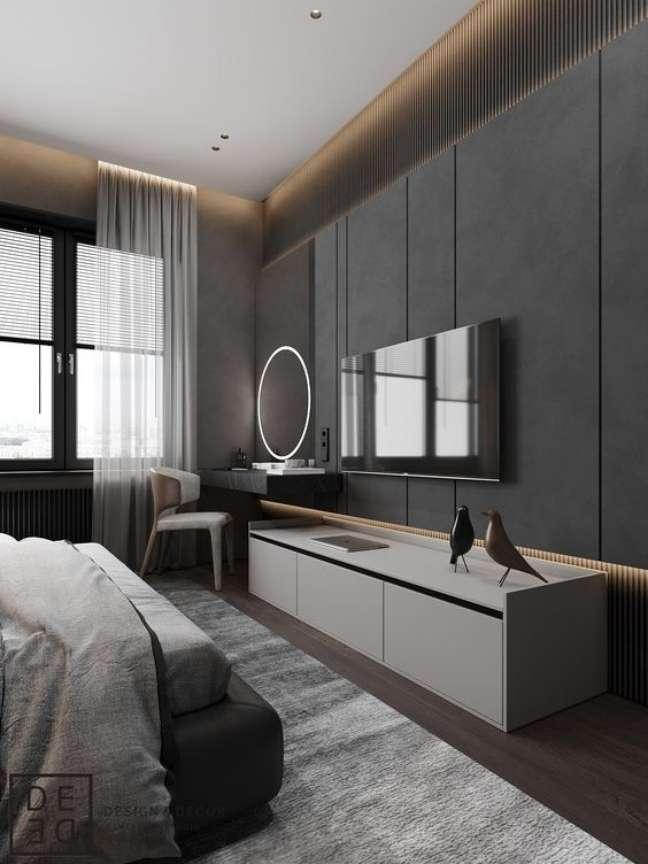 16. Rack para quarto branco com painel cinza – Foto Behance