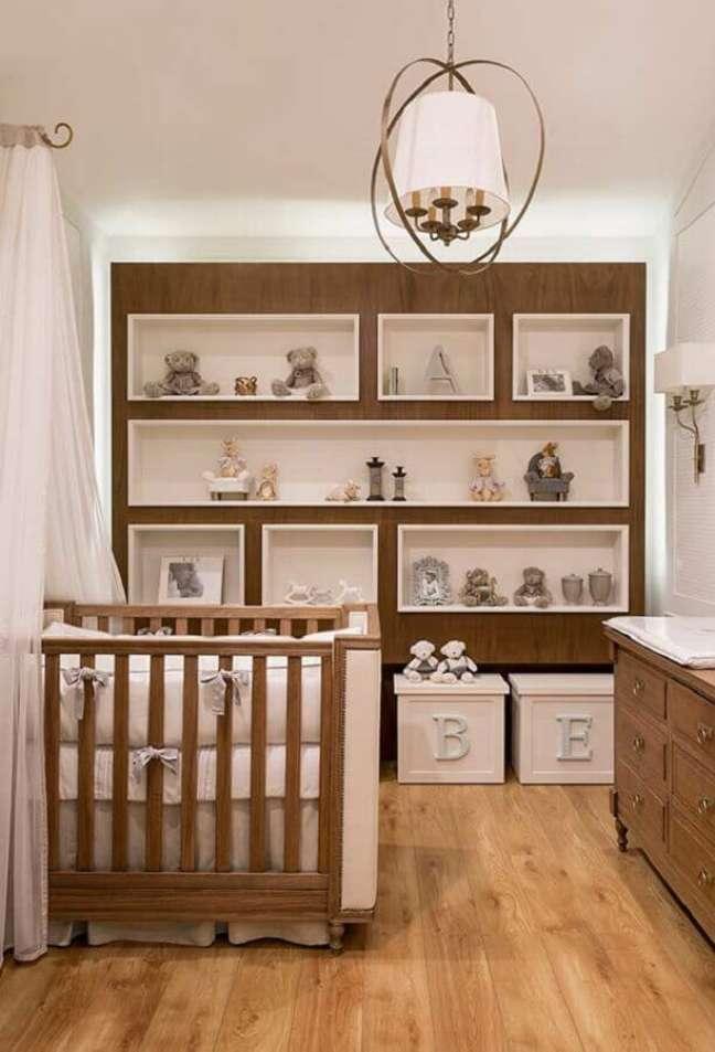 26. Decoração de quarto para bebê completo com nichos embutidos – Foto: Pinterest