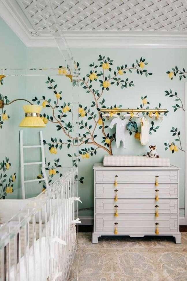 30. Decoração de quarto para bebê verde e branco com tema limão siciliano – Foto: Home Fashion Trend