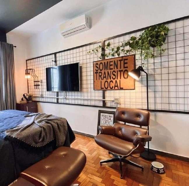 4. Decoração industrial para quarto com painel aramado – Foto: Freepik