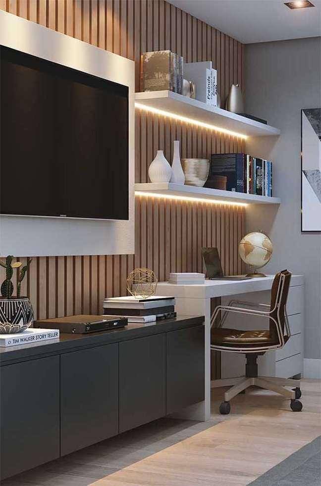39. Rack para quarto planejado com escrivaninha para home office -Foto Pinterest
