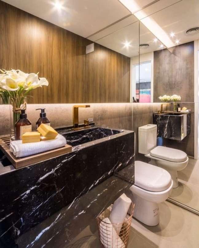 26. Aposte nas melhores cores de mármore para banheiro com espelho – Foto Pinterest