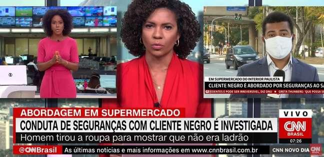 Maju Coutinho, Luciana Barreto e Marcus Vinícius Anjos ao noticiarem o caso no mercado de Limeira: importante representatividade na TV