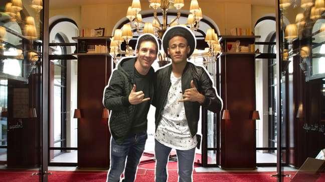 Messi e Neymar em uma das entradas do Le Royal Monceau de Paris