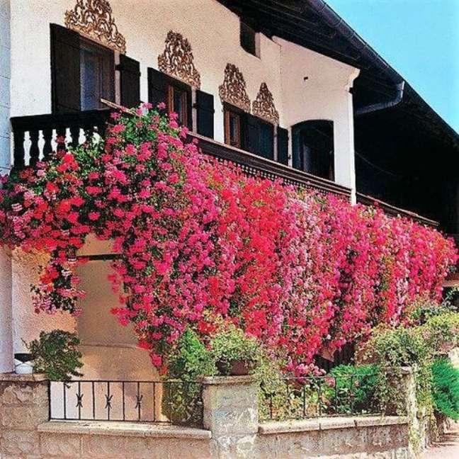 47. Fachada de casa com gerânio pendente na varanda – Foto Pinterest