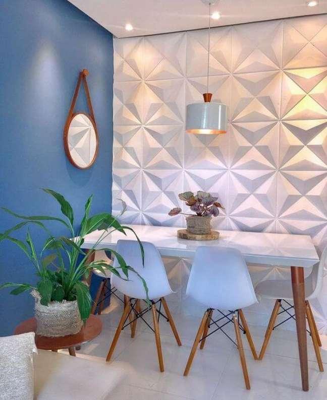 53. Sala moderna com parede 3D e mesa de jantar branca – Foto lujpdecoracaoes