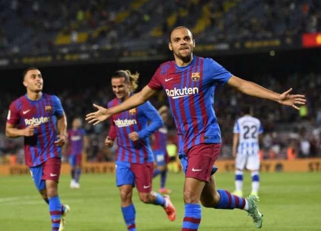 Braithwaite marcou duas vezes pelo Barça (Foto: JOSEP LAGO / AFP)