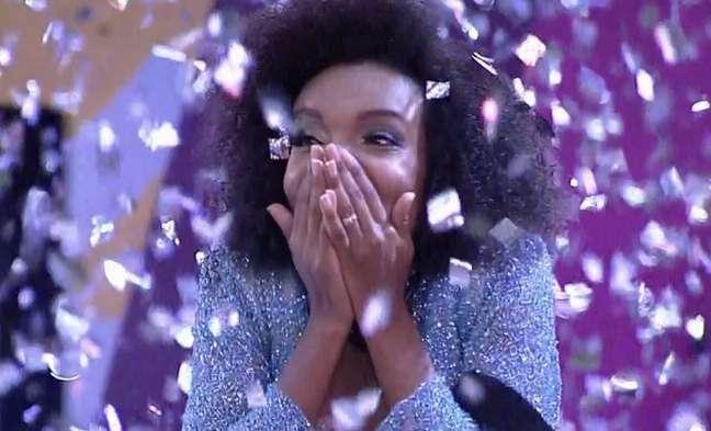 Vitória de Thelminha foi uma das mais representativas na história do programa. Reprodução: Rede Globo