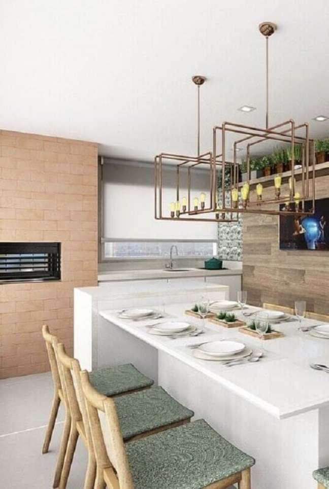 3. Lustre moderno para área gourmet decorada com revestimento tijolinho – Foto: Pinterest