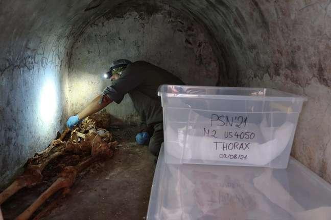 Arqueologista analisa a múmia encontrada em Pompeia