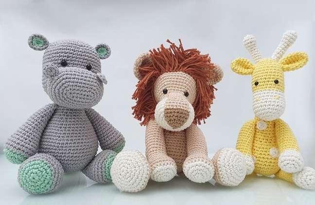 15. Trio de amigurumi para decoração de quarto de bebê safari. Fonte: Elo7