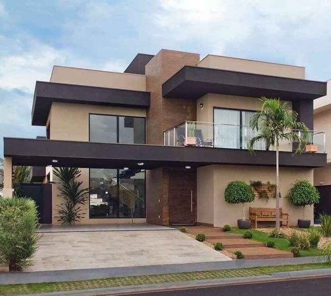 37. Cores para fachadas de casas em tons de marrom – Foto Maria Fernanda