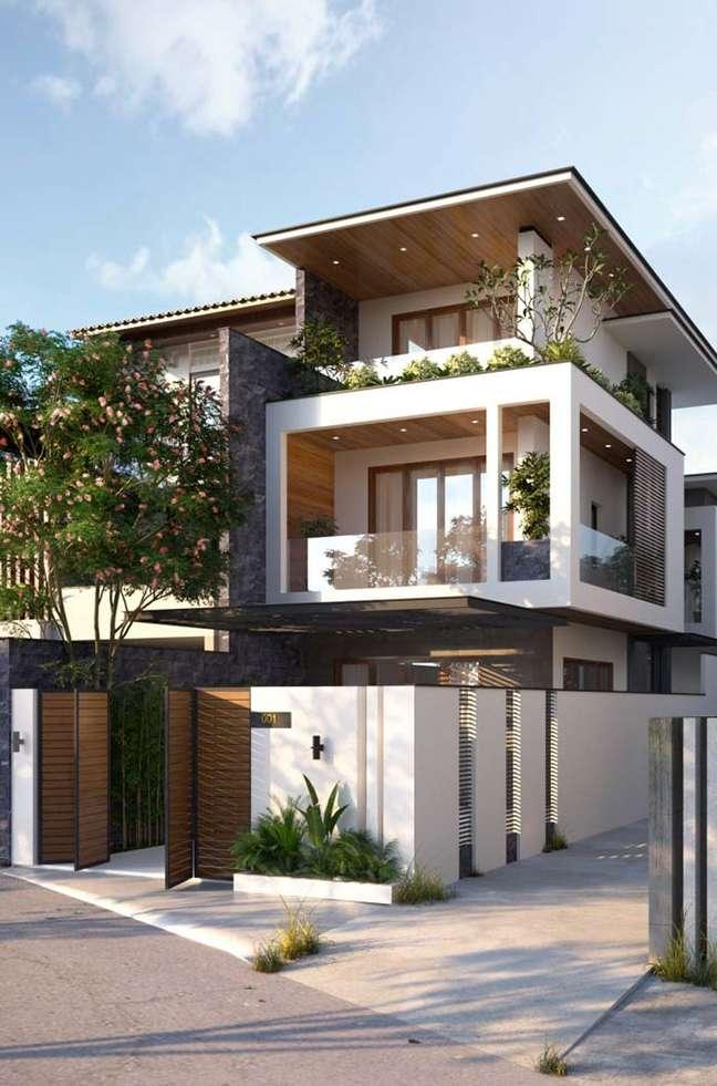 30. Cores para fachada de casas branca com parede cinza – Foto Pinterest