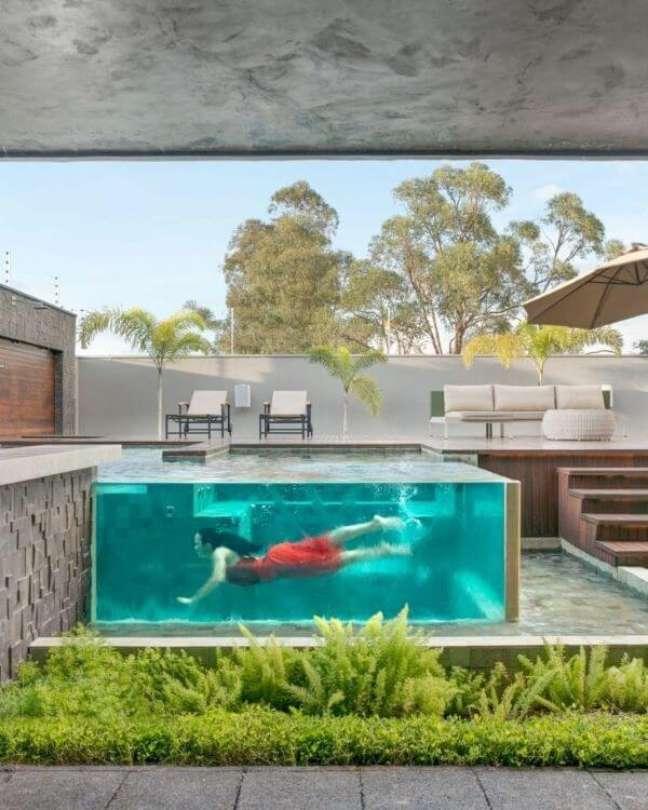 86. Piscinas modernas com borda de vidro e decoração de plantas – Foto Prepona Info