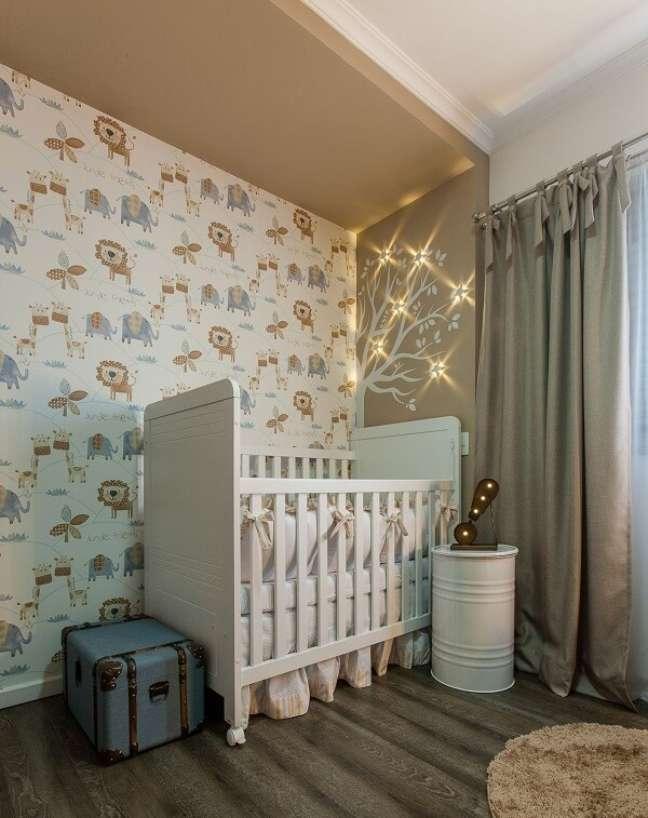 28. Modelo de papel de parede quarto de bebê tema safári. Projeto de Jordana Gabrielli