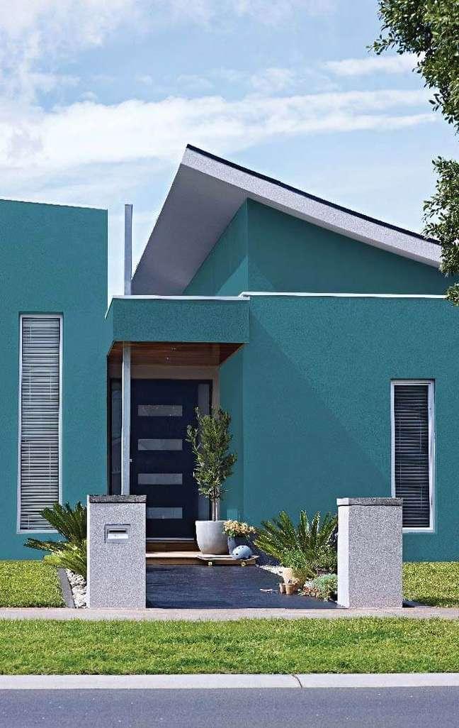 45. Cores para fachadas de casas modernas na cor turquesa – Foto Pinterest