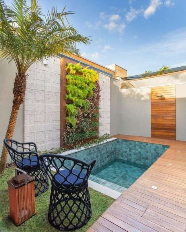 31. Piscinas pequenas e modernas no quintal ficam lindas com muros de plantas – Foto Pinterest