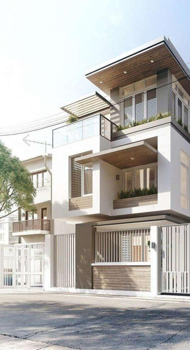 73. Ideias de cores para fachada de casas modernas em tons claros – Foto Pinterest