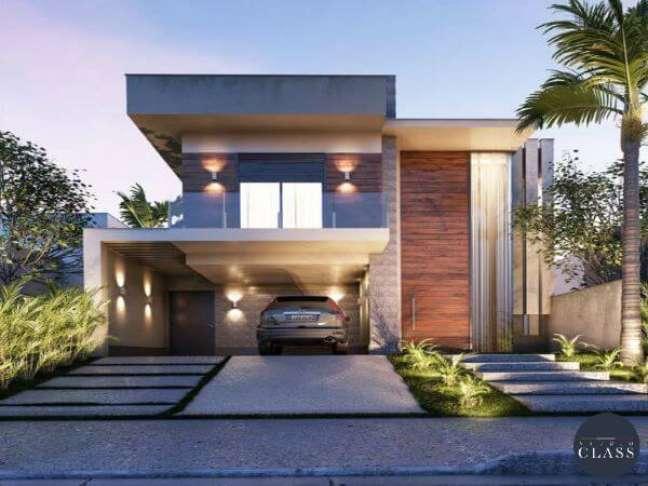67. Cores para fachadas de casas modernas com varanda de vidro e revestimento de pedras – Foto Class
