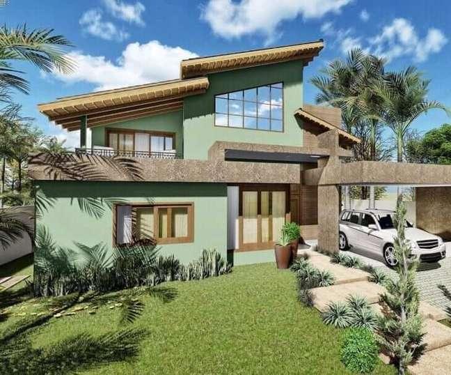 13. Cores para fachada de casas verde claro – Foto Claudia Comparin
