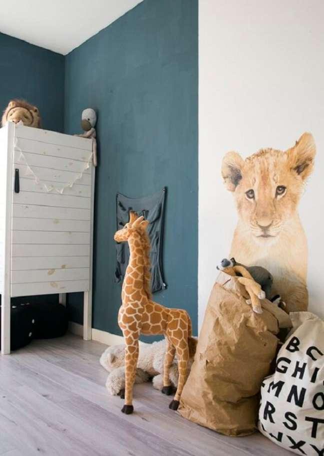 10. Modelo de quarto de bebê safari com tons de azul. Fonte: Pinterest