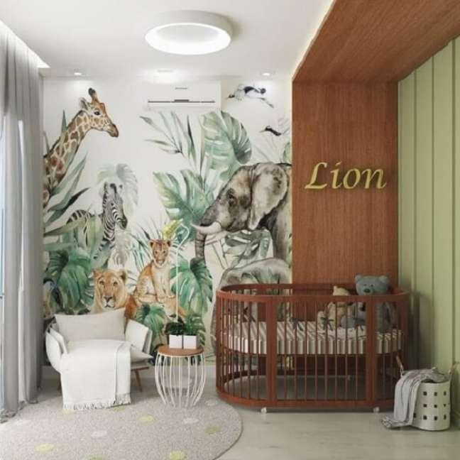 14. Animais e natureza fazem parte da decoração de quarto de bebê safári. Fonte: Pinterest