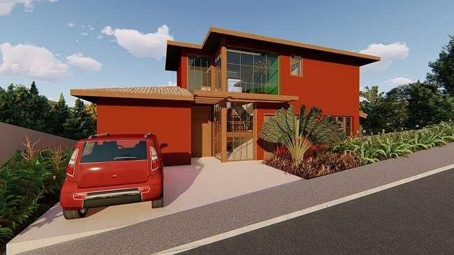 10. Cores para fachada de casas simples em tons de laranja – Foto Daniel Szego Arquitetura