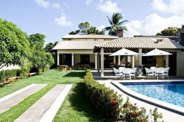 60. Jardim com piscinas modernas ao lado – Foto Celia Beatriz