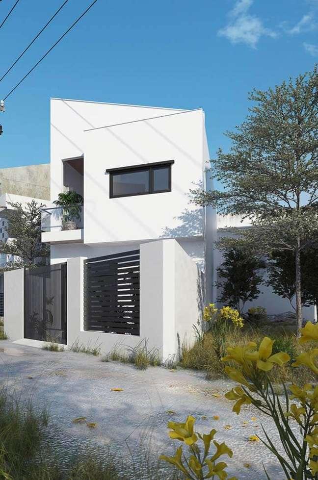 20. Cores claras para fachadas de casas com piso de cimento – Foto Pinterest