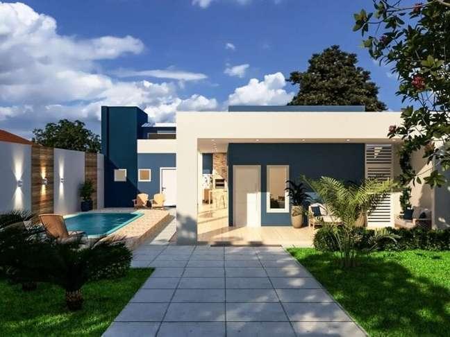3. Cores de tintas para fachadas de casas em azul e branco – Foto Leticia campos