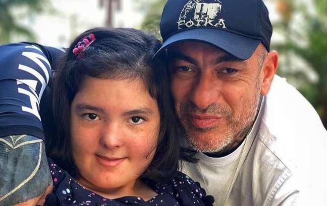 Henrique Fogaça e a filha Olívia, de 14 anos