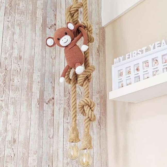 52. Luminária de corda para quarto de bebê safari. Fonte: Pinterest
