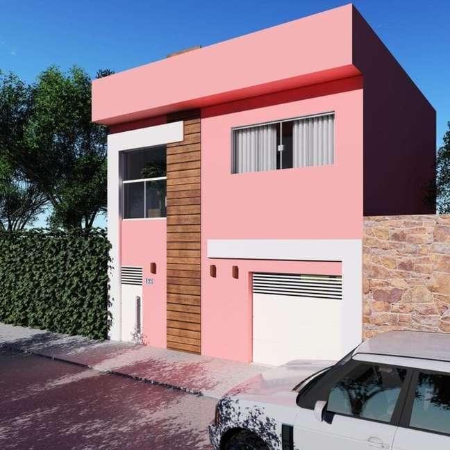 34. Cores para fachadas de casas cor de rosa com revestimento de madeira -Foto Thais Queiroz