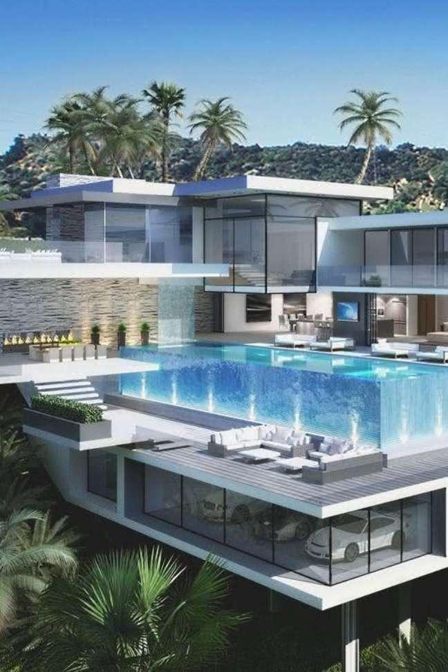 61. Modelos de garagem para mansão com piscinas modernas – Foto Pinterest