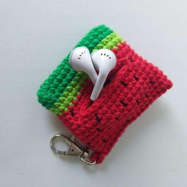 3. Modelo de porta fone de ouvido de crochê – Foto: Círculo