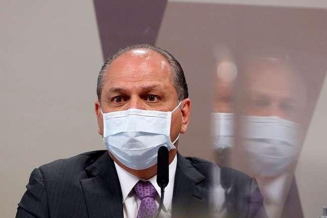 Líder do governo na Câmara dos Deputados, Ricardo Barros, durante depoimento à CPI da Covid no Senado 12/08/2021 REUTERS/Adriano Machado