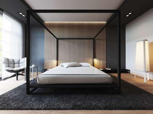 27. Decoração de quarto preto e branco moderno com poltrona confortável – Foto: Behance