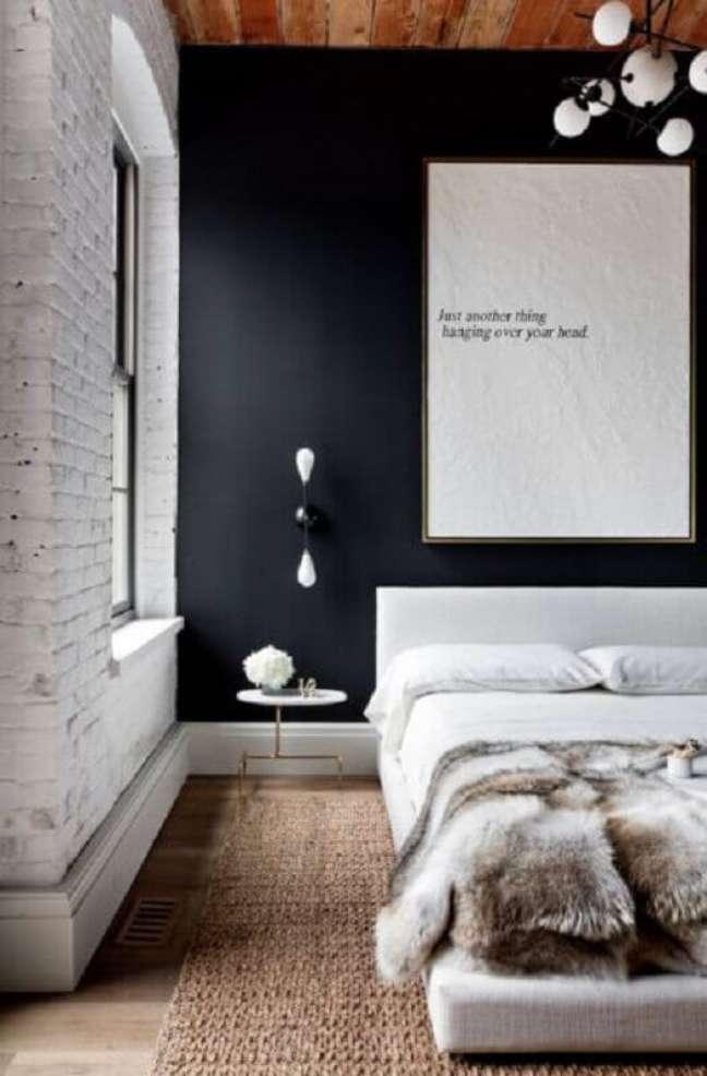35. Luminária de parede para decoração de quarto preto e branco – Foto: Futurist Architecture