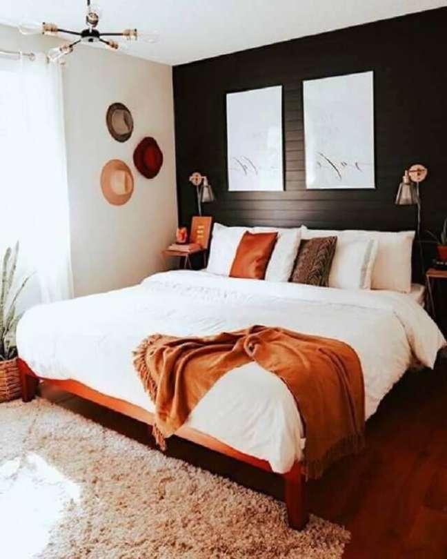 36. Luminária de parede para decoração de quarto preto e branco simples – Foto: Pinterest