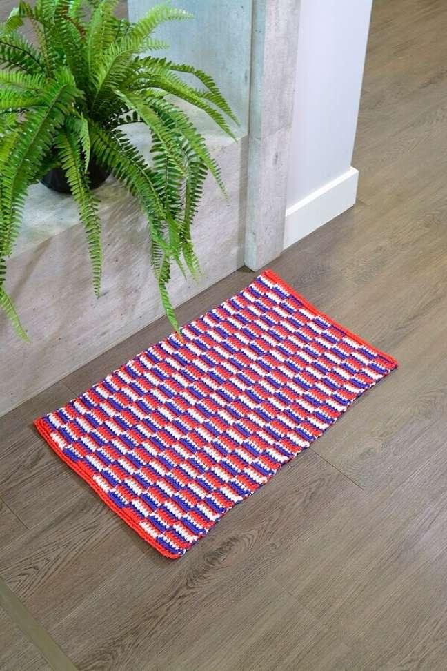 9. Modelo de tapete náutico para decoração de home office – Foto: Círculo